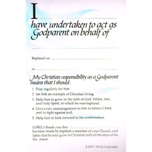 Certificate for Godparent Undertaking blue