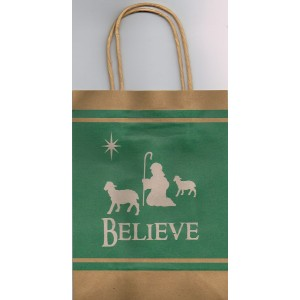 Christmas Paper Gift Bag - Believe - Shepherd And Sheep
