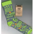 Breathe Easy Bamboo Socks - Green/Yellow On Grey (MEDIUM)