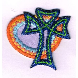 Iron-on patch - Heart and cross