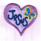 Iron-on patch - Jesus in purple heart