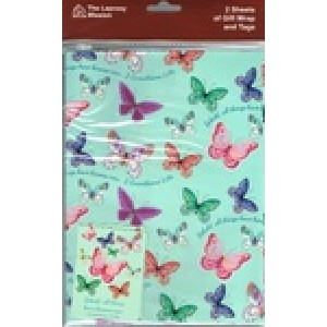 Giftwrap Leprosy Mission Butterflies  with text 2 Corinthians 5:17b