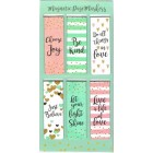 Magnetic Page Markers, inspirational quotes with a pink, pale green and gold heart theme. Six page markers, each 2cm x 6cm.